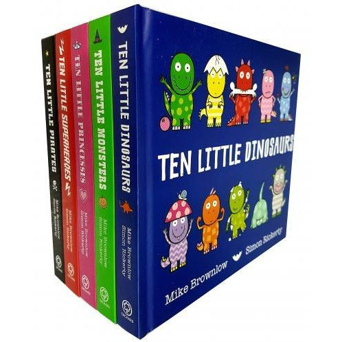 Mike Brownlow Ten Little Collection 5 Board Books Set Ten Little Pirates Ten Little Dinosaurs Ten .. - books 4 people