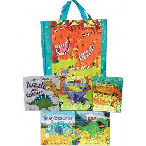 Dinosaur Adventures Collection 5 Books Set In A Bag Ankylosaurus Dora The Diplodocus Rex And Vicky.. - books 4 people