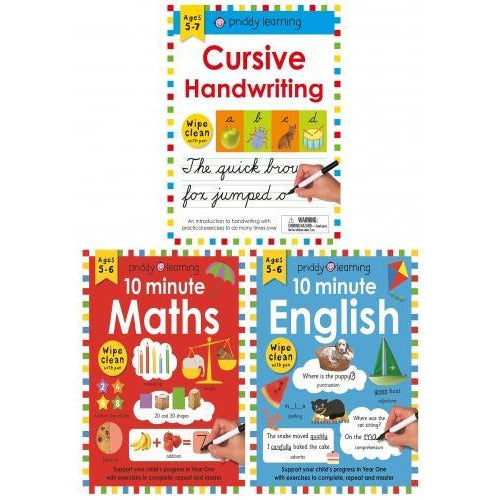 Wipe Clean Workbooks 3 Books Collection Set - 10 Minute English 10 Minute Maths Cursive Handwriting - books 4 people