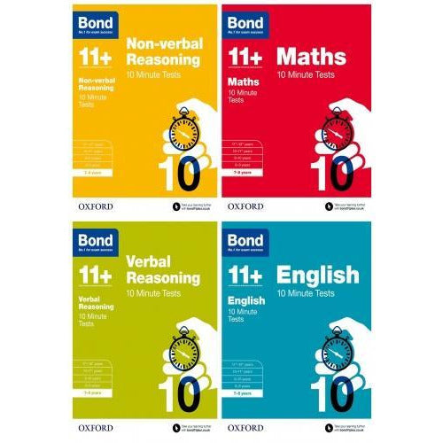 Bond 11 English Maths Non-verbal Reasoning Verbal Reasoning 10 Minute Tests 4 Books Set Age 7-8 - books 4 people