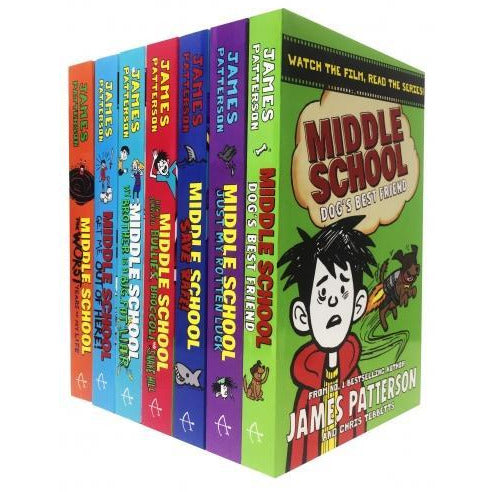 James Patterson Middle School Collection 7 Books Set Dogs Best Friendjust My Rotten Luck Save Rafe.. - books 4 people