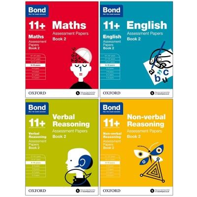 Bond 11 Maths English Non-verbal Reasoning Verbal Reasoning Assessment Papers 4 Books Set Book 2 A.. - books 4 people