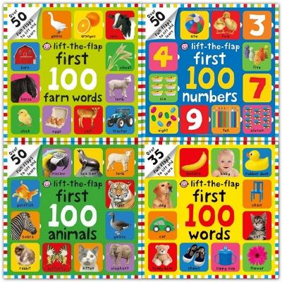 Lift The Flap 4 Children Board Books Collection Set First 100 Farm Words First 100 Numbers First 1.. - books 4 people