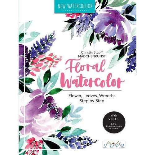Floral Watercolour - Step By Step Flowers Leaves Wreaths - books 4 people