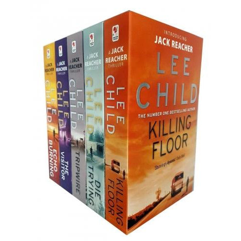 Lee Child Jack Reacher Series 15 Collection 5 Books Set  Killing Floor Die Trying Tripwire The Visitor Echo Burning - books 4 people