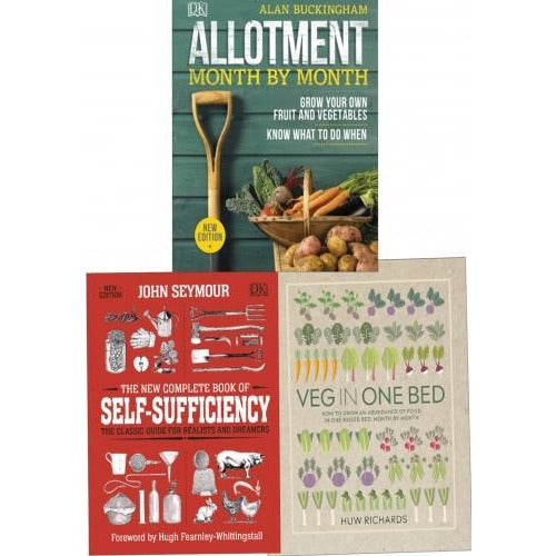 Garderning 3 Books Collection Set -veg In One Bed Allotment Month By Month The New Complete Book O.. - books 4 people