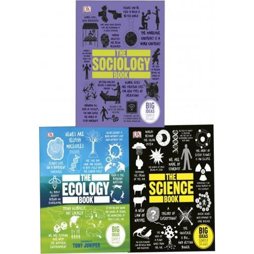 Big Ideas Series Collection 3 Books Set The Science Book The Ecology Book The Sociology Book - books 4 people