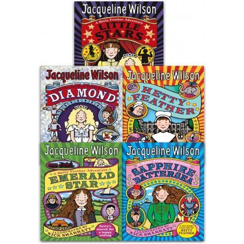 Jacqueline Wilson Hetty Feather Series Collection 5 Books Set Little Stars Sapphire Battersea Diam.. - books 4 people