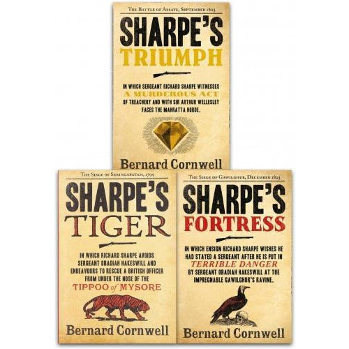 Bernard Cornwell The Sharpe Series 3 Books Collection Set  Sharpe Tiger Sharpe Triumph Sharpe Fort.. - books 4 people