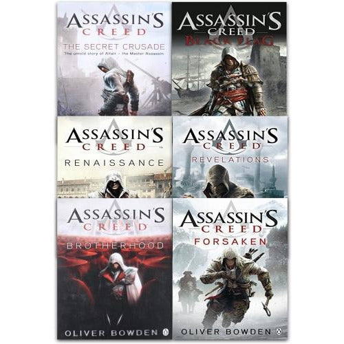 Assassins Creed 6 Books Collection Set By Oliver Bowden Renaissance Brotherhood The Secret Crusade.. - books 4 people