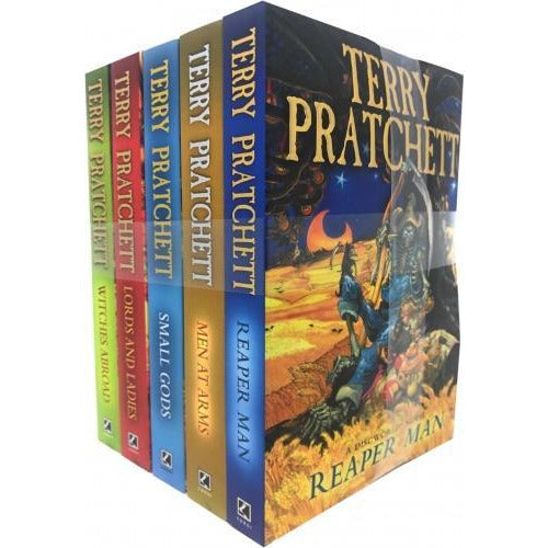 Discworld Novel Series 3 Terry Pratchett Collection 5 Books Set  Book 1115  Reaper Man Witches Abroad Small Gods Lords And Ladies Men At Arms - books 4 people