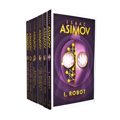 Isaac Asimov Robot Series 6 Books Collection Set The Naked Sun, The Caves Of Steel, Robots And Empire, The Robots Of Dawn