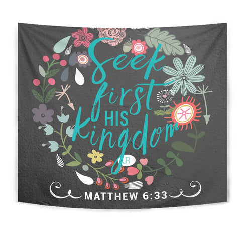 Seek First His Kingdom - Tapestry - Grey