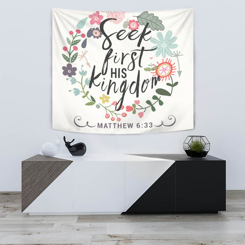 Seek First His Kingdom - Tapestry - White