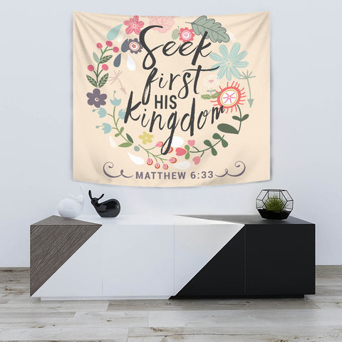 Seek First His Kingdom - Tapestry - Peach