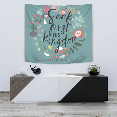 Seek First His Kingdom - Tapestry - Green