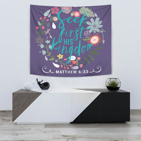 Seek First His Kingdom - Tapestry - Purple