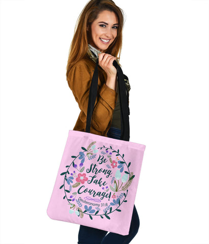Image of Be Strong Take Courage - Tote Bags