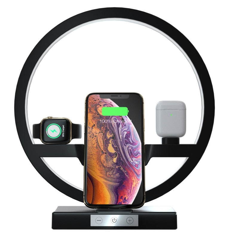 3 IN 1 QI Fast Wireless Charger Dock for iPhone 11 Pro Max for Apple Watch iWatch 1 2 3 4 5 Airpods Charger Holder LED Lamp 2019 - Black Lives Clothing