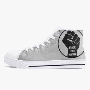 Open image in slideshow, 179. Classic High-Top Canvas Shoes - White/Black - Black Lives Clothing