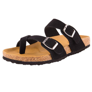 Open image in slideshow, Women's Slides Sandals Waterproof Leahter Footbed Cork Midsole