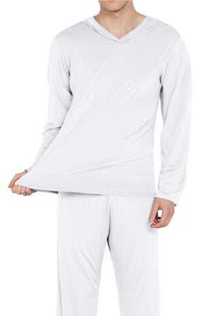 Open image in slideshow, Mens Silk Satin Pajamas Set Hooded Shirt with Pants Sleepwear Loungewear