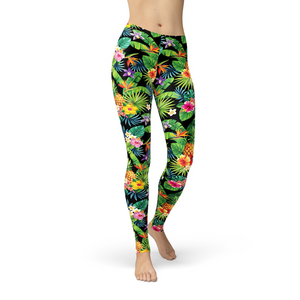 Jean Tropical Pineapple Flowers Leggings - Black Lives Clothing