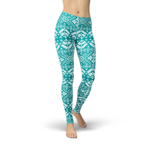 Open image in slideshow, Jean Teal Snowflake Leggings
