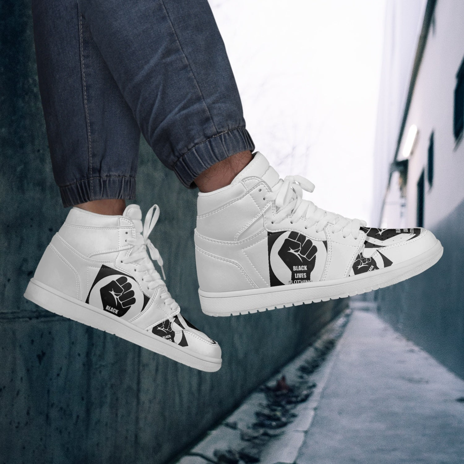 236 Black  Lives Clothing-Top Leather Sneakers - White - Black Lives Clothing