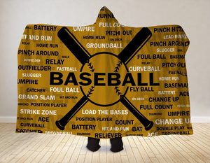 Open image in slideshow, Baseball Hooded Blanket