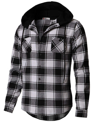 Open image in slideshow, Mens Casual Hoodie Jackets Check Patterned Long Sleeve with Front Pockets