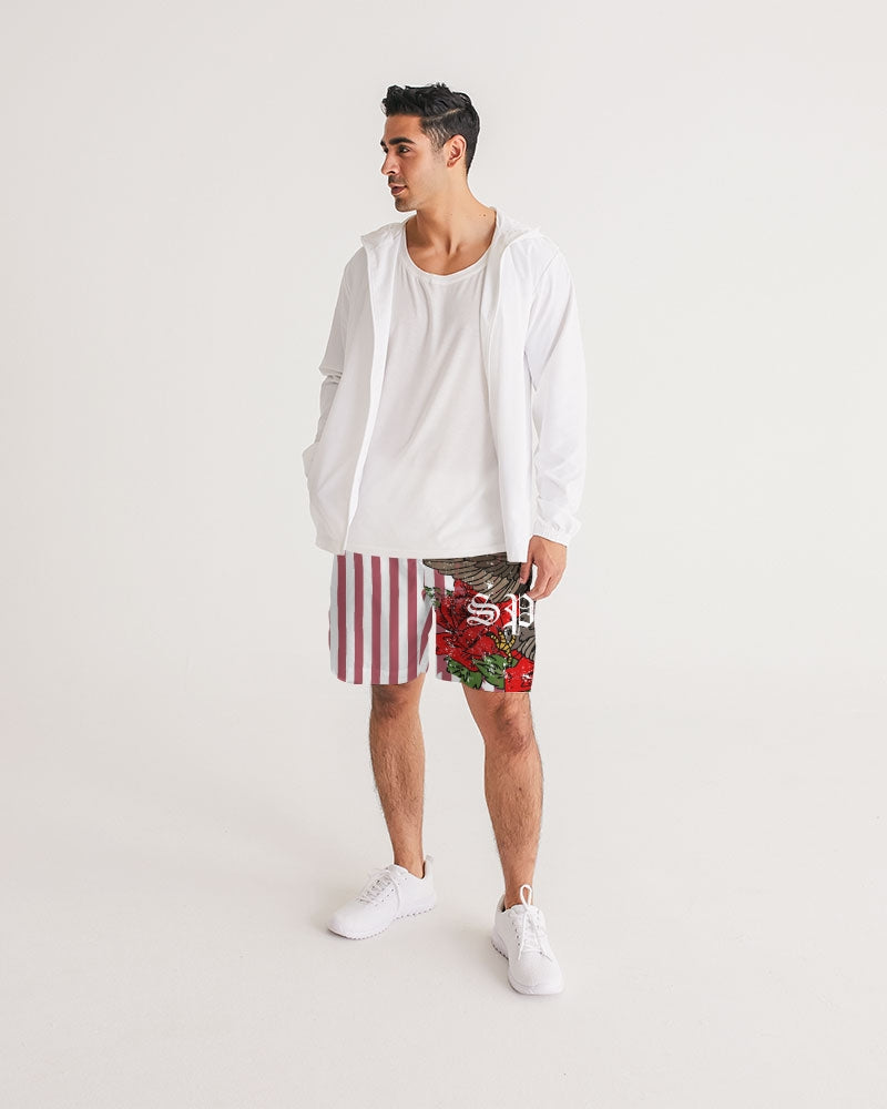 Flowers And Stripes Men's Jogger Shorts - Black Lives Clothing