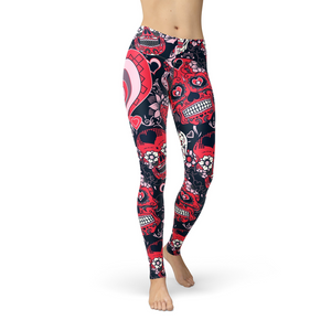 Open image in slideshow, Jean Valentine Sugar Skulls Leggings