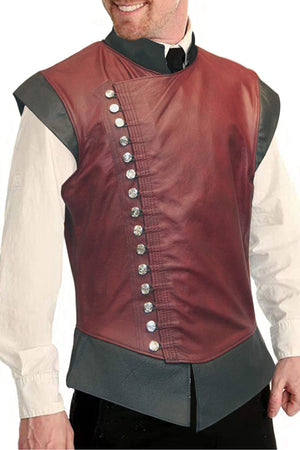 Open image in slideshow, Mens Renaissance Steampunk Stand Collar Breasted Vest Jerkin Gothic Waistcoat