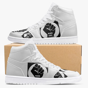 Open image in slideshow, 236 Black  Lives Clothing-Top Leather Sneakers - White - Black Lives Clothing