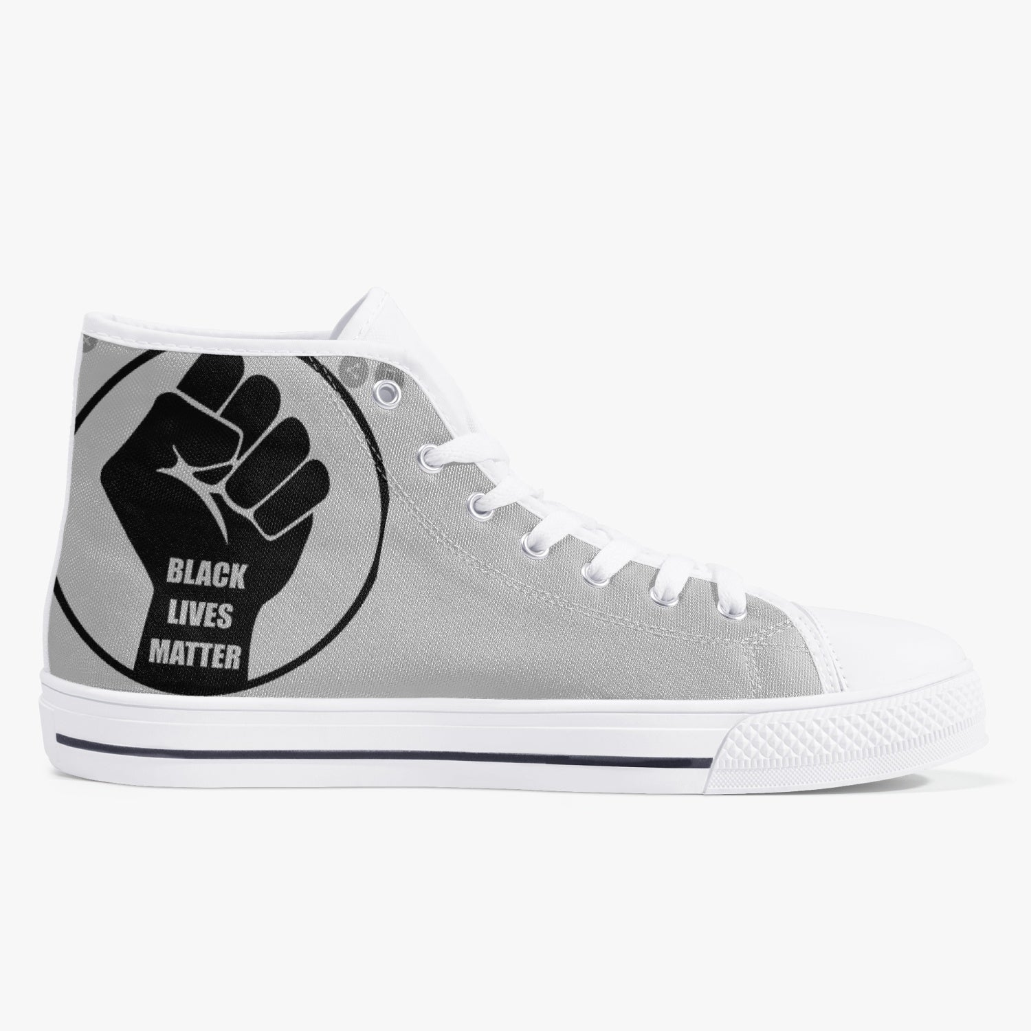 179. Classic High-Top Canvas Shoes - White/Black - Black Lives Clothing