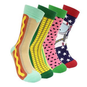 Open image in slideshow, Funny Mens Colorful Dress Socks -  Fun Novelty Patterned Crazy Design Socks
