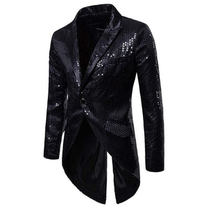 Open image in slideshow, Mens Sequin Tailcoat Swallowtail Suit Jacket Party Show Tux Dress Coat