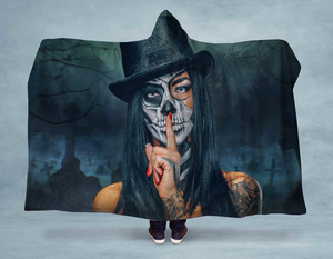 Open image in slideshow, Skull Top Hat Hooded Blanket