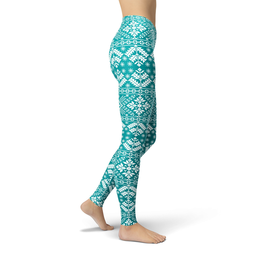 Jean Teal Snowflake Leggings