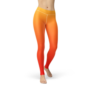 Jean Yellow Red Ombre Leggings