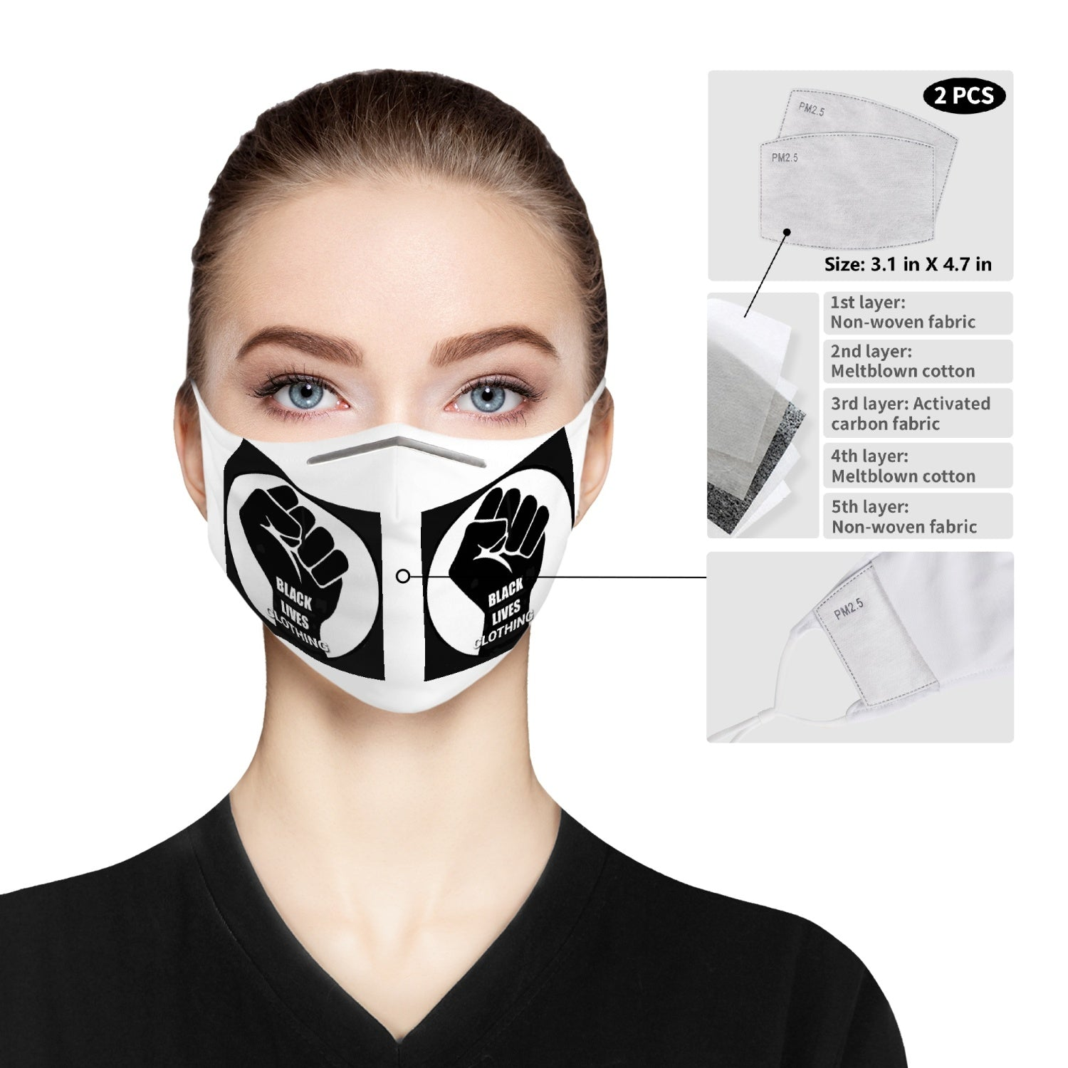 185. Cloth Face Mask For Adults - Black Lives Clothing