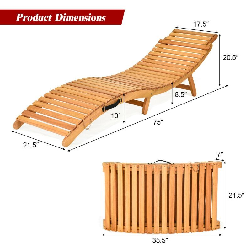 Wavy Folding Outdoor Patio Lounge Chair  Eucalyptus Wood
