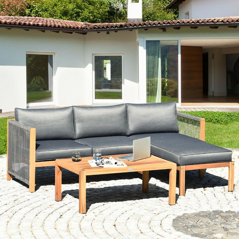 Patio Acacia Indoor and Outdoor Sectional Sofa with Nylon Armrest - 3 Piece Set