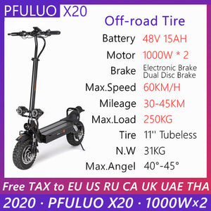 Open image in slideshow, 2020 PFULUO X20 Dual Drive Off-road Scooter 2000W Dual Motor LCD Display Smart e scooter 2 wheel skateboard 60km/h Max Speed