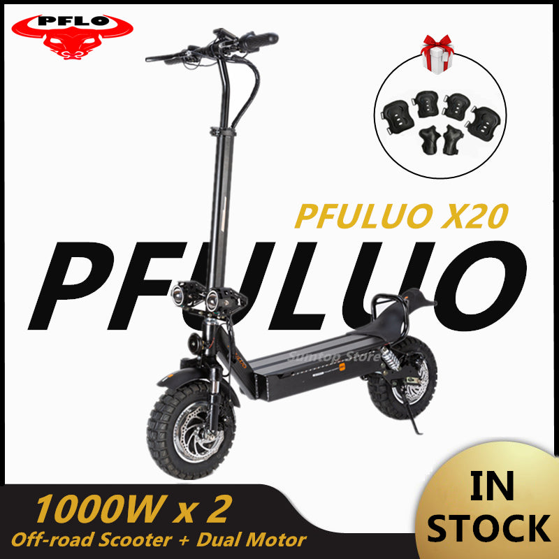 2020 PFULUO X20 Dual Drive Off-road Scooter 2000W Dual Motor LCD Display Smart e scooter 2 wheel skateboard 60km/h Max Speed