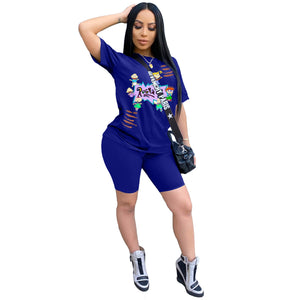 Designer Two Piece Short Set Women Clothes Biker Sets Summer Casual Cartoon 2pcs Tracksuit Summer Fashion Tops Shorts Women S-3XLOutfit