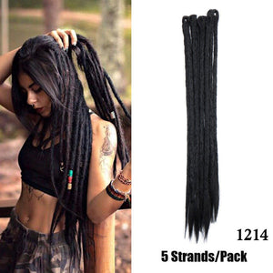Open image in slideshow, 20 24Inch Ombre Dreadlocks Extensions Handmade Synthetic Dreads Hair Extensions Twist Ombre Crochet Reggae Dreadlocks 5Strands/Lot - Black Lives Clothing