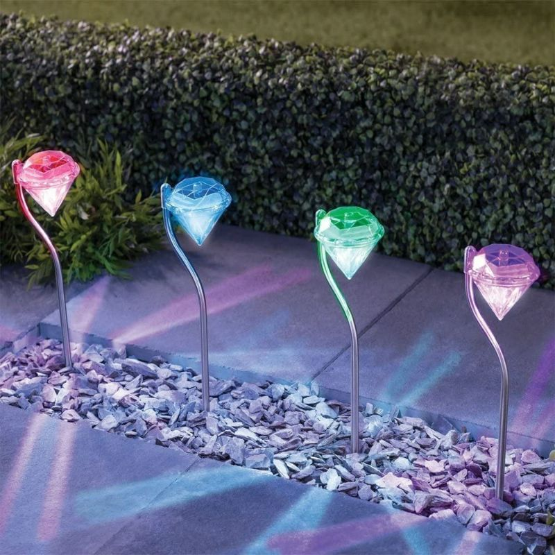 Solar Outdoor Color Changing Stake Lights - 4 Pack