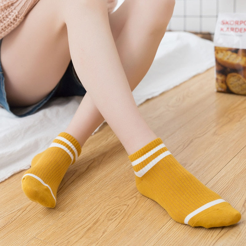 College wind striped boat socks Women's casual cute socks socks women's socks